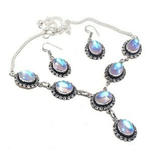 Rainbow Fire Topaz Silver Necklace & Earrings Set.
